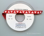 RED 10mm VALENTINE HEARTS RIBBON 20m