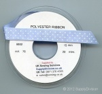 15mm BABY BLUE double satin Printed with-fine polka dots