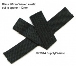 20mm Black woven elastic cut lengths 112mm x 1000pcs