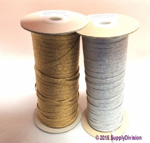 6mm(approx) flat Metallic Lurex Elastic, Gold 100m.