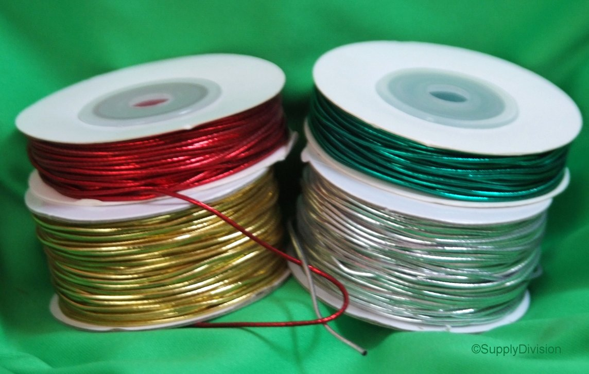 1.7mm Round metallic elastic shock cord sold in 20m units