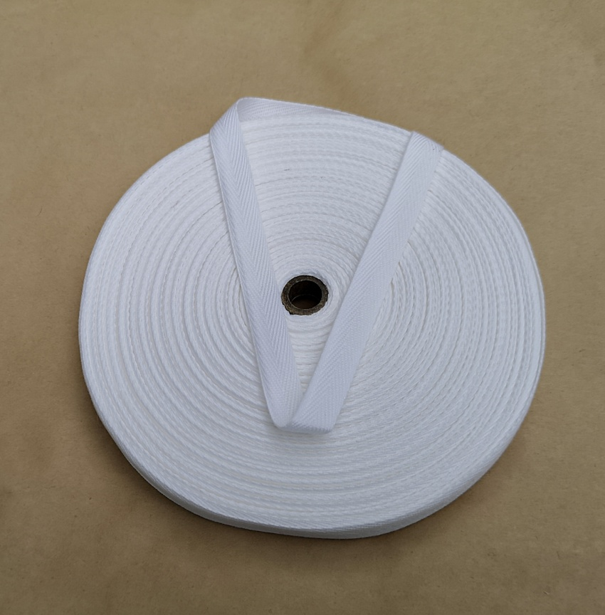 13mm White 100% cotton twill webbing tape, 100m.