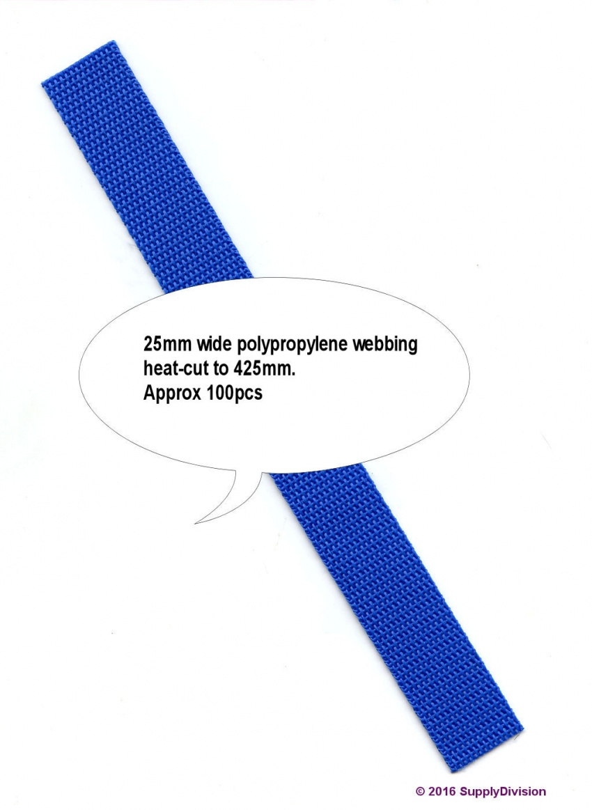 25mm Polyp webbing Royal blue H-Cut 425mm 100pcs