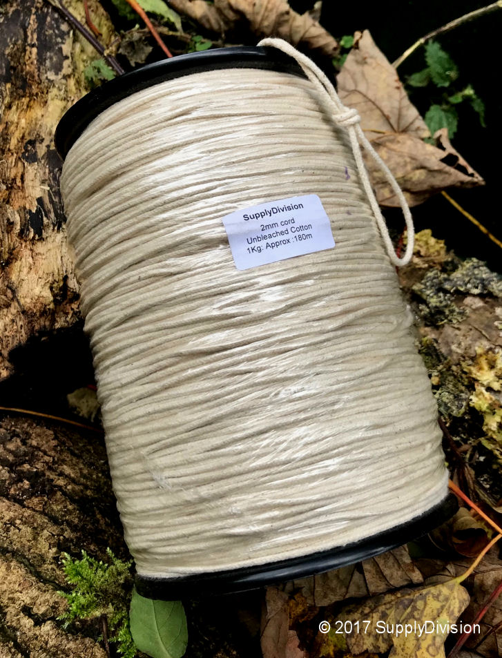 2mm pure UNBLEACHED Cotton cord 180m reel
