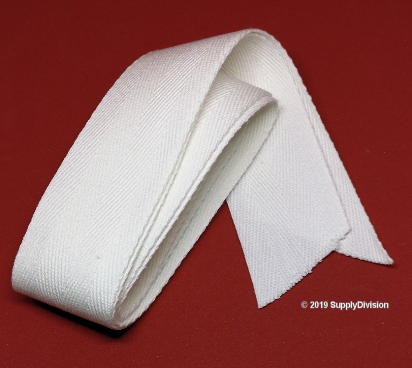 38mm Optical White 100% cotton twill tape