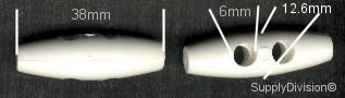 White Nylon Toggle (two hole, 38mm long)