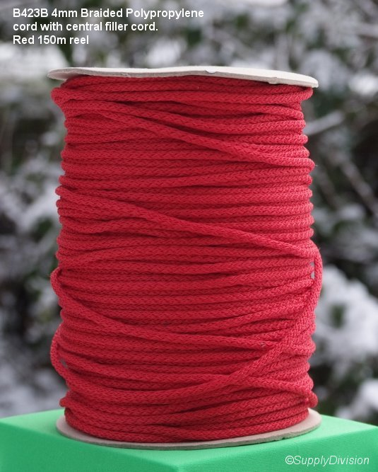 B423B Red 4mm Polypropylene cord 150m reel