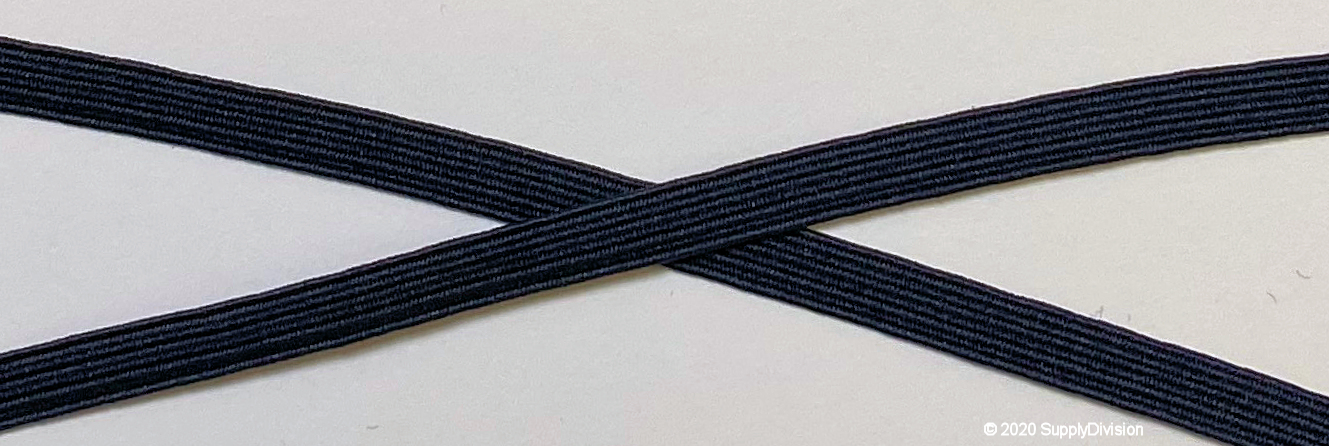 6mm(approx) flat elastic, Dark Navy Blue.