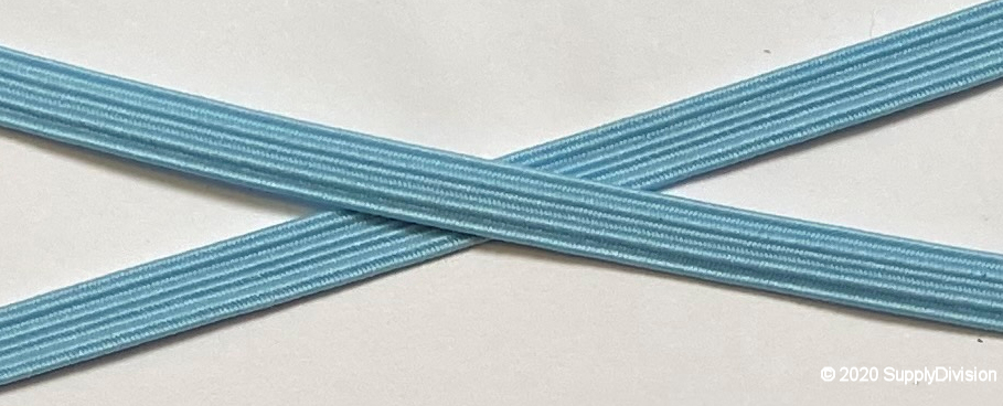 6mm(approx) flat elastic, Baby/Sky Blue.