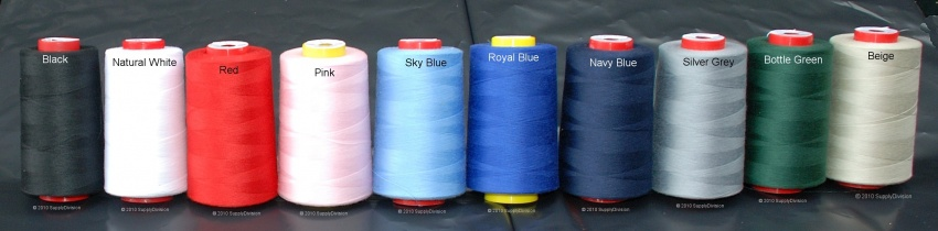 Standard m120 Spun-polyester sewing thread 5 each of 12 shades 5000y cones-
