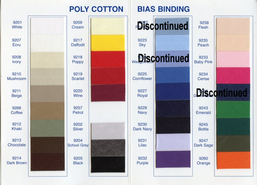 Poly-Cotton Bias Binding Centre-fold to 12.5mm.