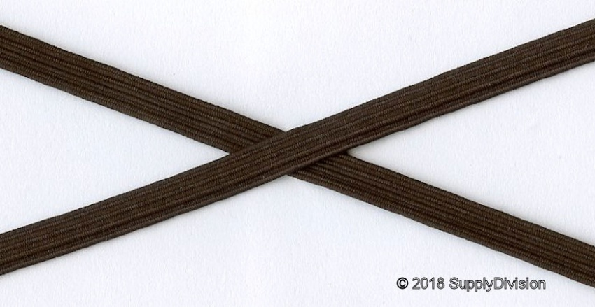 6mm(approx) flat elastic, Brown, 250m.
