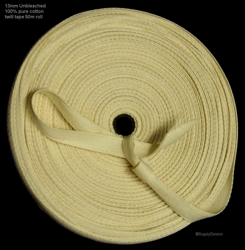 13mm Unbleached 100% cotton twill webbing tape, 100m.