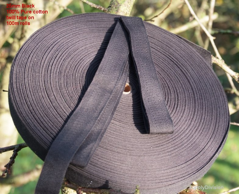 25mm Black 100% cotton twill webbing tape, 100m