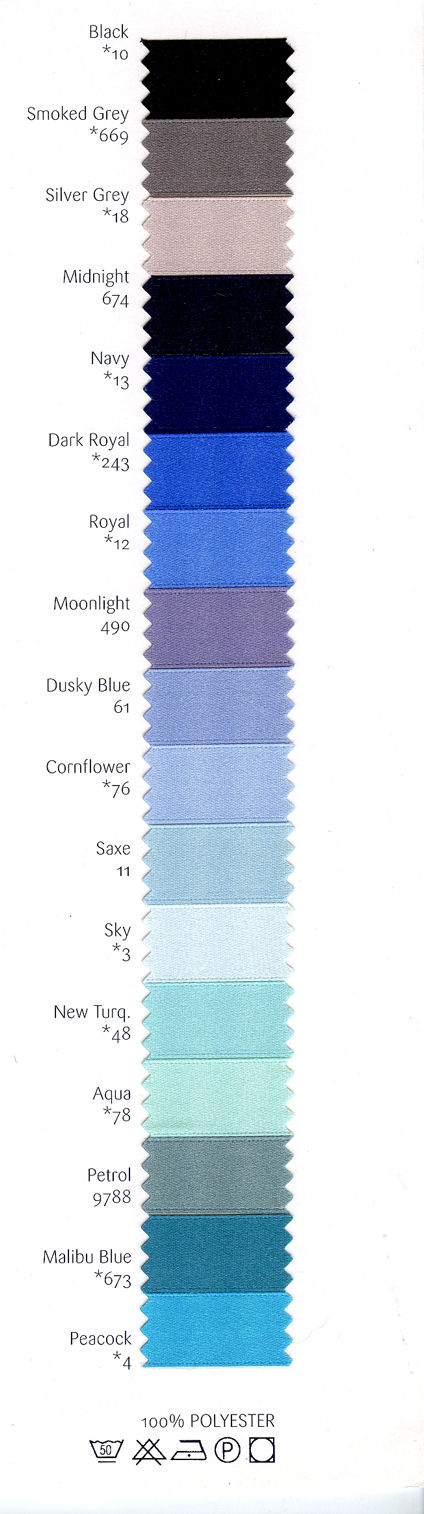 Shade range B-25mm Woven edge double satin ribbon, 100m.