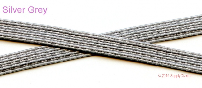 6mm (approx) flat elastic, Silver Grey.