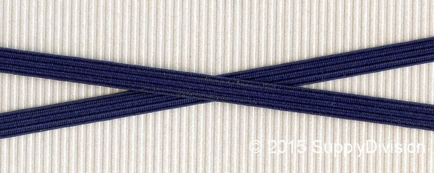 6mm(approx) flat elastic, Navy blue, 250m.