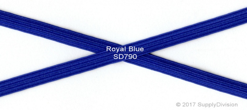 6mm(approx) flat elastic, Royal Blue, 250m.