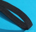 4 cord, 3mm wide Black elastic, 200m reel.
